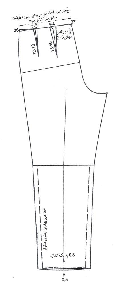 رسم دو ساسون در الگوی شلوار